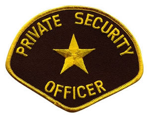 PRIVATE SECURITY OFFICER PATCH / GOLD ON BROWN