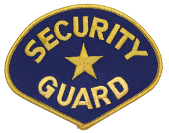 SECURITY GUARD PATCH / GOLD ON BLUE